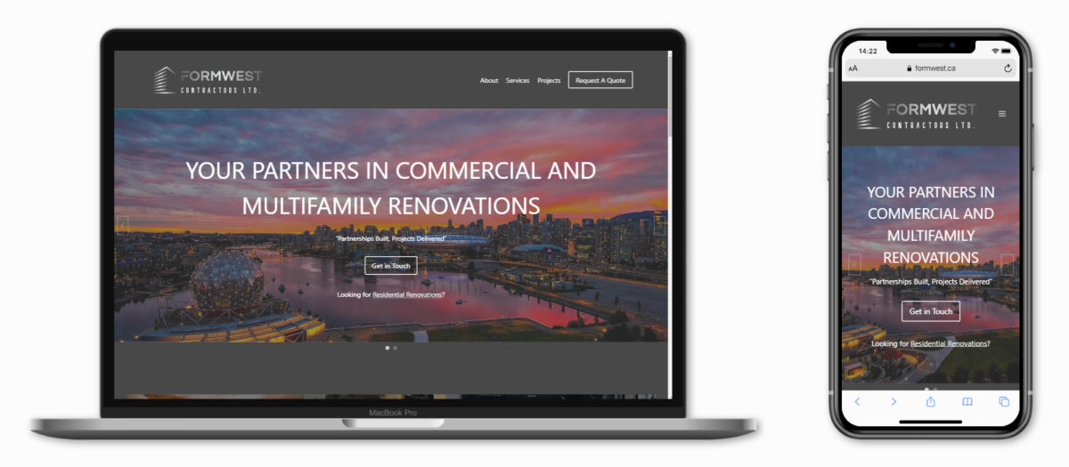 WordPress Website Portfolio (Formwest Contractors Ltd.)