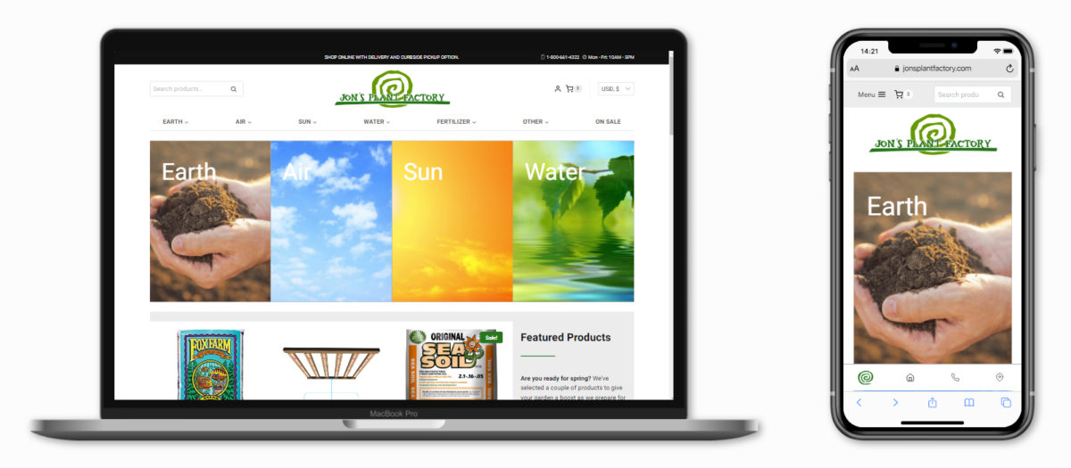 WordPress Website Portfolio (Jon's Plant Factory)